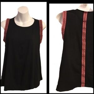 W5 Embroidered Geometric Pink & Black Tank